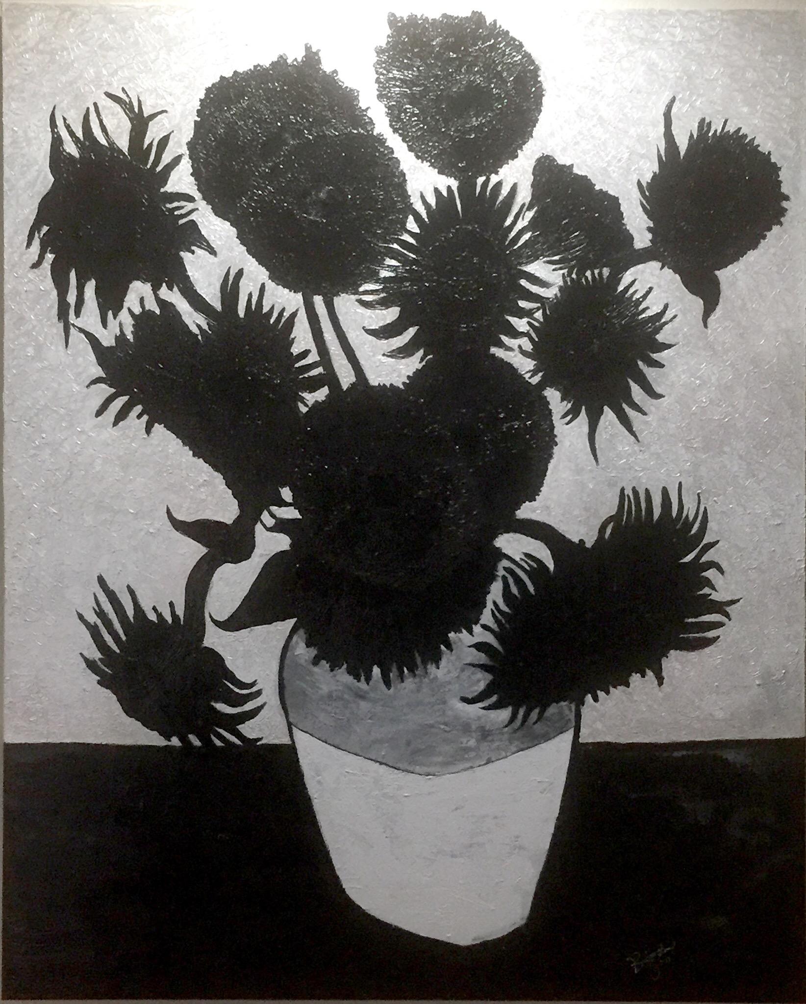 brent jones art, brent jones, denver art, acrylic art, contemporary art, local art, brent jones denver, figure art, figure painting, black and white, van gogh, sunflowers, van gogh sunflowers, contemporary art