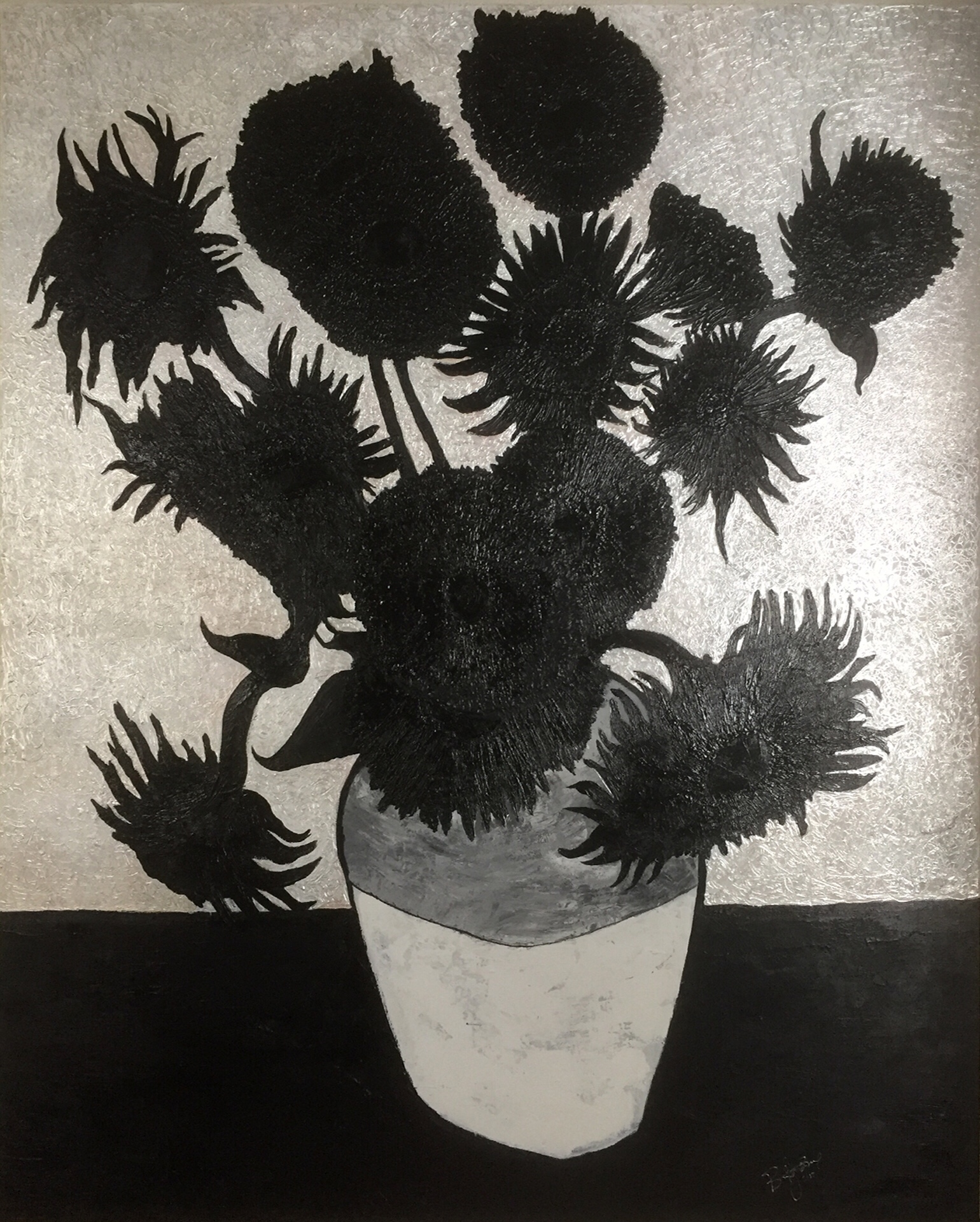 brent jones art, brent jones, denver art, acrylic art, contemporary art, local art, brent jones denver, sunflowers, black and white, van gogh, van gogh sunflowers