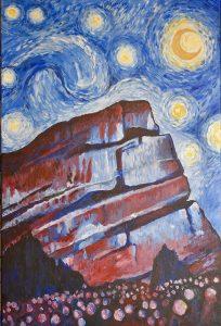 brent jones art, brent jones, denver art, acrylic art, contemporary art, local art, brent jones denver, red rocks, red rocks art, red rocks painting