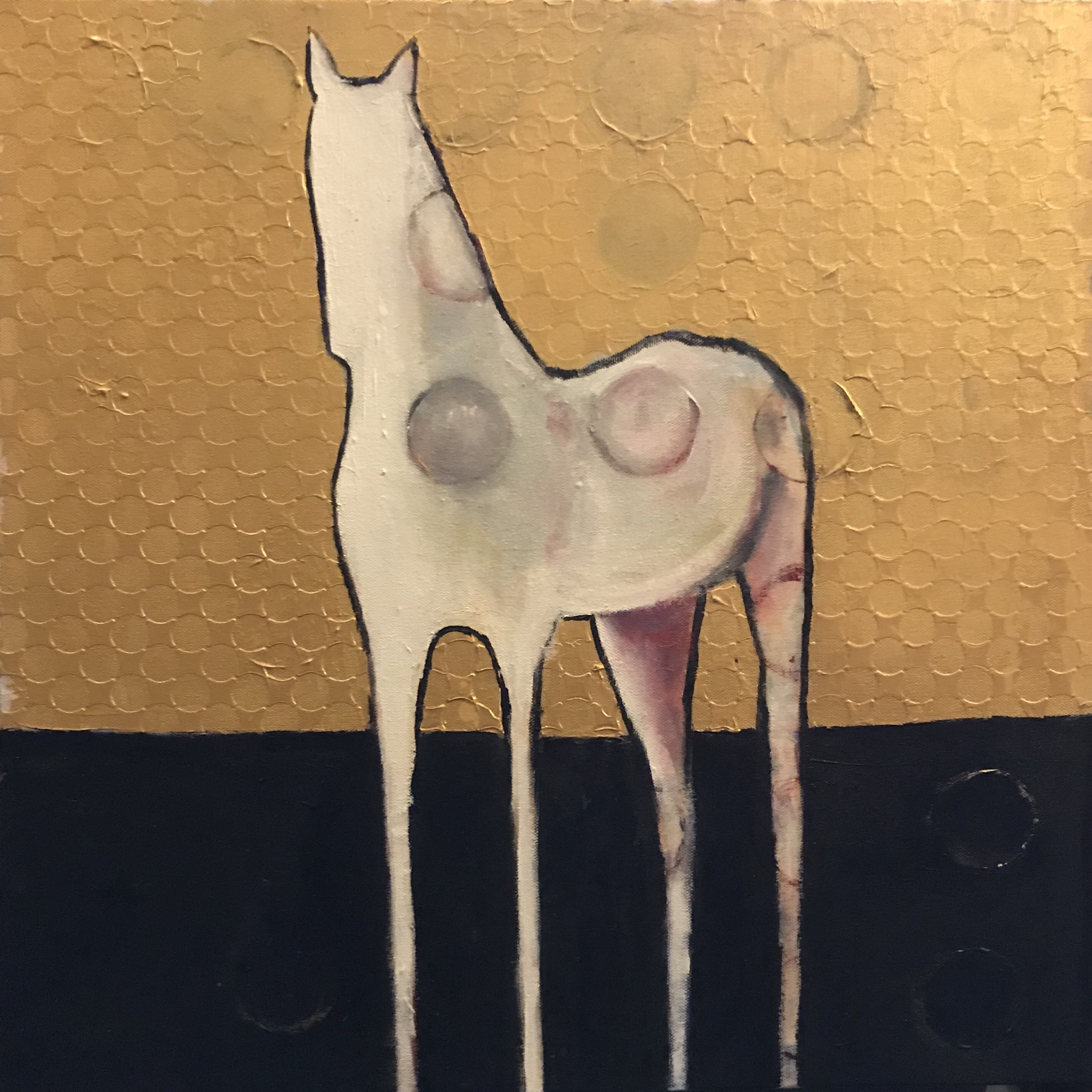 Brent Jones Art, acrylic, gold, horse, horse painting, abstract horse, contemporary horse, contemporary art