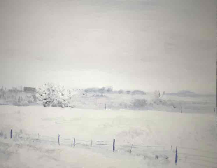 Prairie snow, snow painting, Brent Jones, Brent Jones Art, impressionist, denver Art, Monet, winter, winter painting, Monet winter, Brent Jones painting